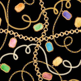 Golden chains and jewelry elements seamless pattern. luxury fashion fabric design print with gold chain and gemstones background, wallpaper. vector illustration