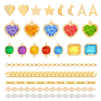Golden chains, precious gemstones, diamonds set. jewelry accessories, charms, earrings, fashion elements and gems collection. vector illustration