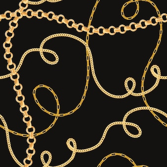 Golden chains seamless pattern. fashion background of gold links. fabric design with jewelry chain for textile, wallpaper. vector illustration