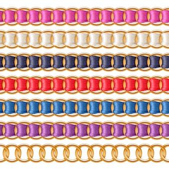 Золотые цепочки с разноцветной тканевой кистью с резьбой. подходит для колье, браслета, ювелирного аксессуара.