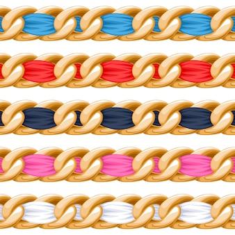 Golden chains set with colorful threaded fabric ribbon  brush. good for necklace, bracelet, jewelry accessory .
