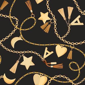 ダイヤモンドのシームレスなパターンのゴールデンチェーン、ストラップ、チャーム。テキスタイル、プリントのための金、宝石、ジュエリー要素とファッションファブリックの背景。ベクトルイラスト