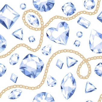 Golden chains and white gemstones seamless pattern on white background. assorted diamonds  illustration. good for cover card banner poster luxury . Premium Vector