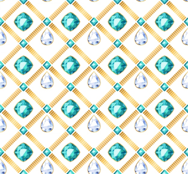 Golden chains white and green gemstones seamless pattern on white background. drop shape pendants  illustration. good for cover card banner luxury poster .