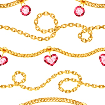 Golden chains with gemstones jewels seamless pattern. luxury precious necklace with gemstone