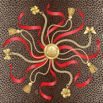 ヒョウの背景にペンダントと赤いリボンのシームレスなパターンと金色のチェーン