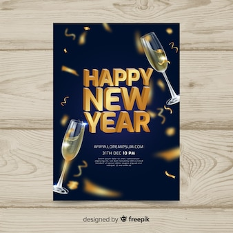 Golden champagne new year party background