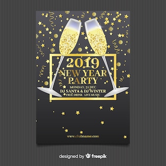 Golden champagne new year party poster template