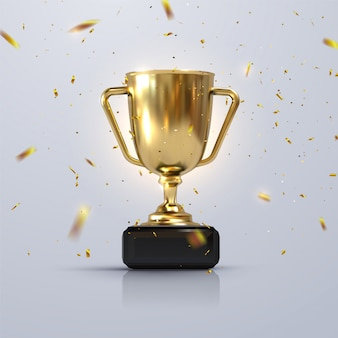 Golden champion cup isolated on white background