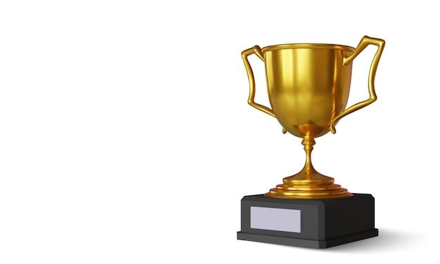 Золотой чемпионский кубок с тенью, изолированной на белом
