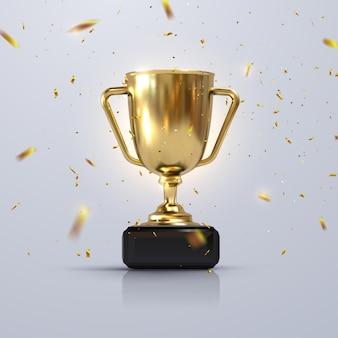 Золотой чемпионский кубок с блестящим конфетти