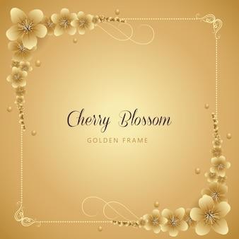 Golden cherry blossom frame