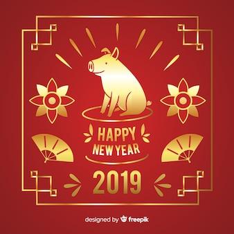 ゴールデン中国の新年の背景