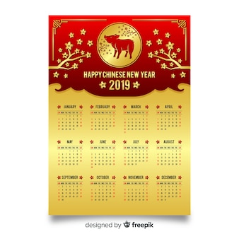 Golden chinese new year calendar