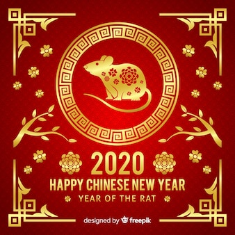 Golden chinese new year concept