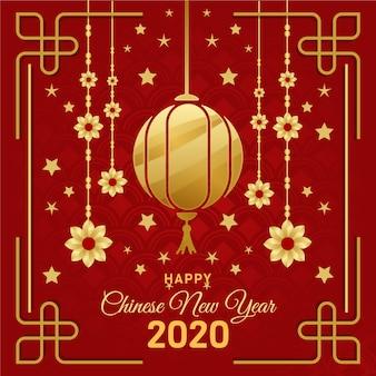 Золотая китайская новогодняя концепция