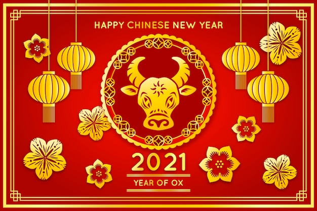 Golden chinese new year illustrated