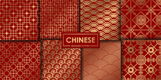 Golden chinese pattern collection