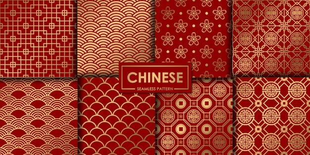Golden chinese seamless pattern collection.