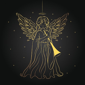 Golden christmas angel concept