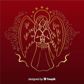 Golden christmas angel front view with red background
