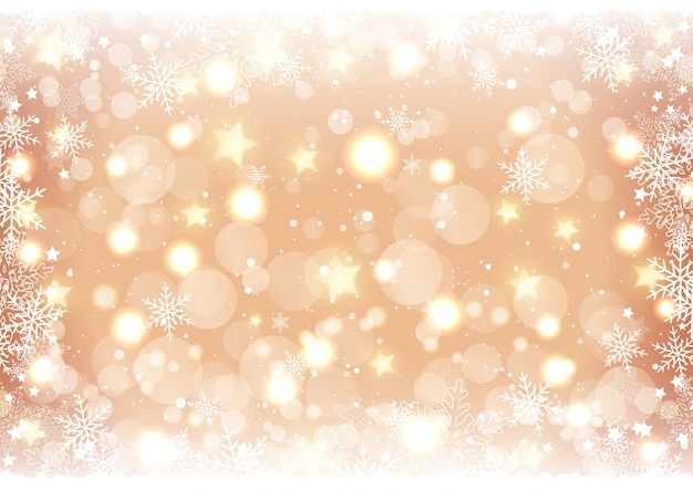 Golden christmas background of bokeh lights and stars