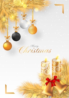 Golden christmas background with candles and ornaments
