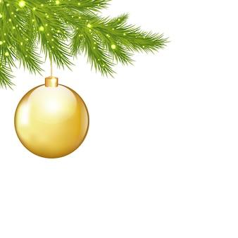 황금 크리스마스 공 및 전나무 나무 가지
