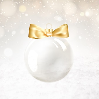 Golden christmas ball with blurred sparks