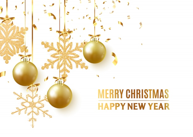 Golden christmas balls background. festive xmas decoration gold bauble and bright snowflake, hanging on the ribbon.