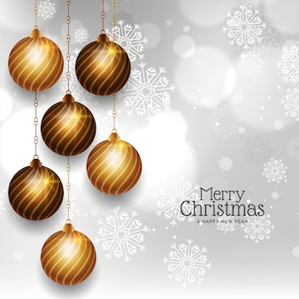 Golden christmas balls decorative merry christmas background vector