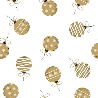 白で隔離のギフトの弓とゴールデンクリスマスボール。クリスマスツリーの装飾とシームレスなパターン。フラットスタイルで