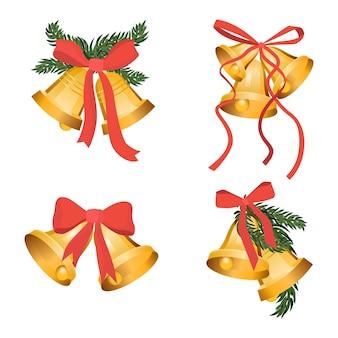 녹색 나뭇가지와 붉은 나비 리본이 있는 황금 크리스마스 벨 홀리데이 컬렉션