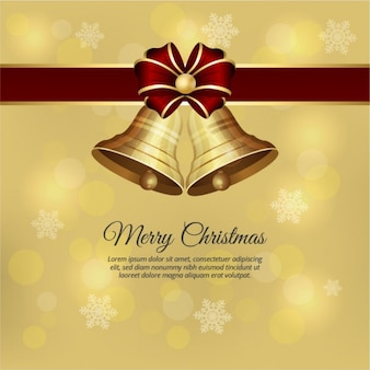 Golden christmas bells with a red bow background
