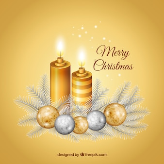 Golden christmas candles background