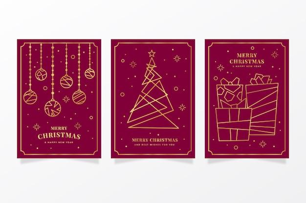 Collezione di cartoline di natale d'oro