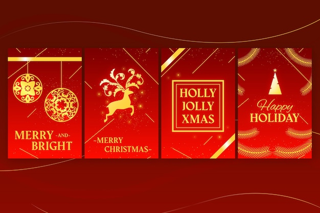 Golden christmas cards collection