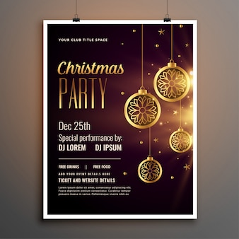Golden christmas celebration party flyer template