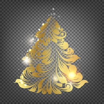 Golden christmas fir tree over the transparent background.
