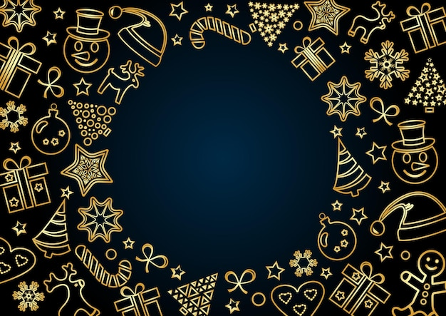 진한 파란색 배경에 황금 크리스마스 프레임, 텍스트를 위한 공간. 개요 디자인. 벡터 일러스트 레이 션