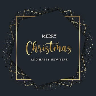 Golden christmas greetings card with gold geometric lines on hexagonal frame
