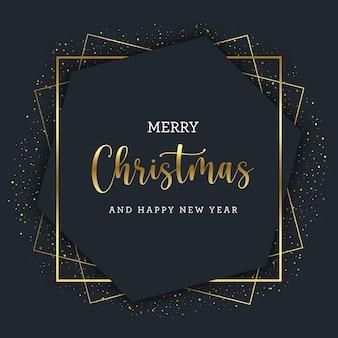 Золотая рождественская поздравительная открытка с золотыми геометрическими линиями на гексагональной рамке