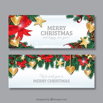 Golden christmas hearts banners