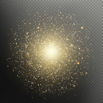 Golden christmas and new year glittering burst. sparkling fireworks luxury overlay effect.