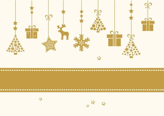 Золотая рождественская новогодняя открытка с лентой. праздничные подвесные игрушки елка, подарочные коробки, олень, снежинка, снеговик. векторная иллюстрация