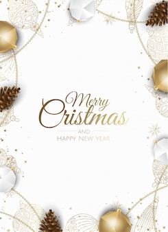 Golden christmas ornaments frame greeting card