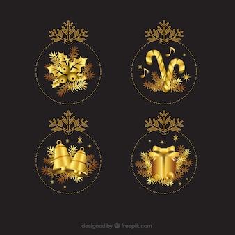 Золотые рождественские украшения
