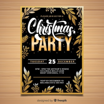 Golden christmas party invitation template