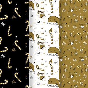 Golden christmas pattern collection