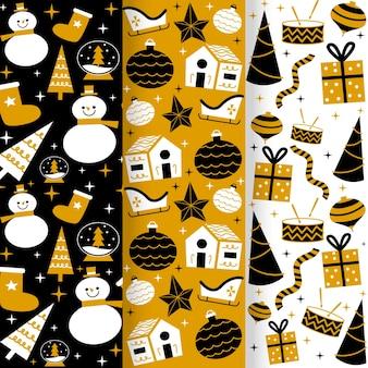 Золотая рождественская коллекция узоров